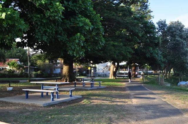 Picnic tables along Ettalong Foreshore walk