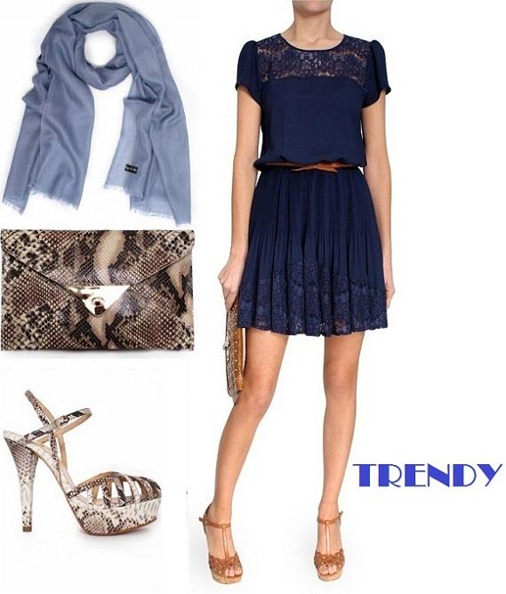 Color de zapatos para un vestido azul oscuro
