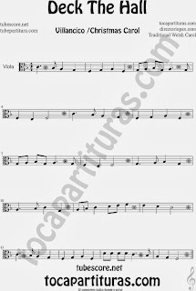 Partitura de Deck The Hall para Viola Villancico Popular Christmas Carol Sheet Music for Viola Music Scores