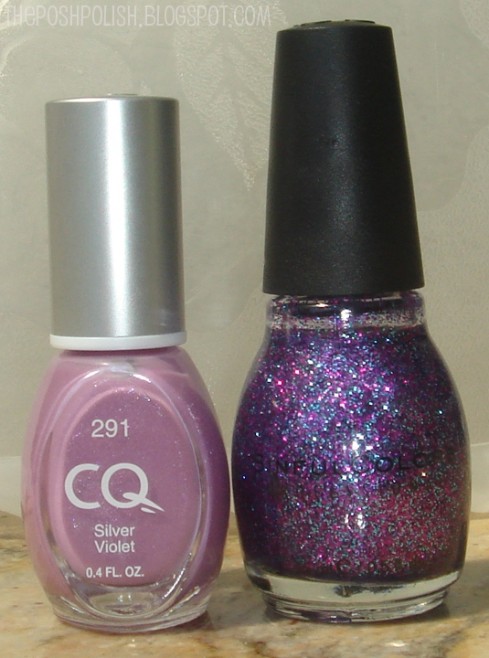 The Posh Polish: Double Glitter French: CQ Silver Violet + Sinful ...