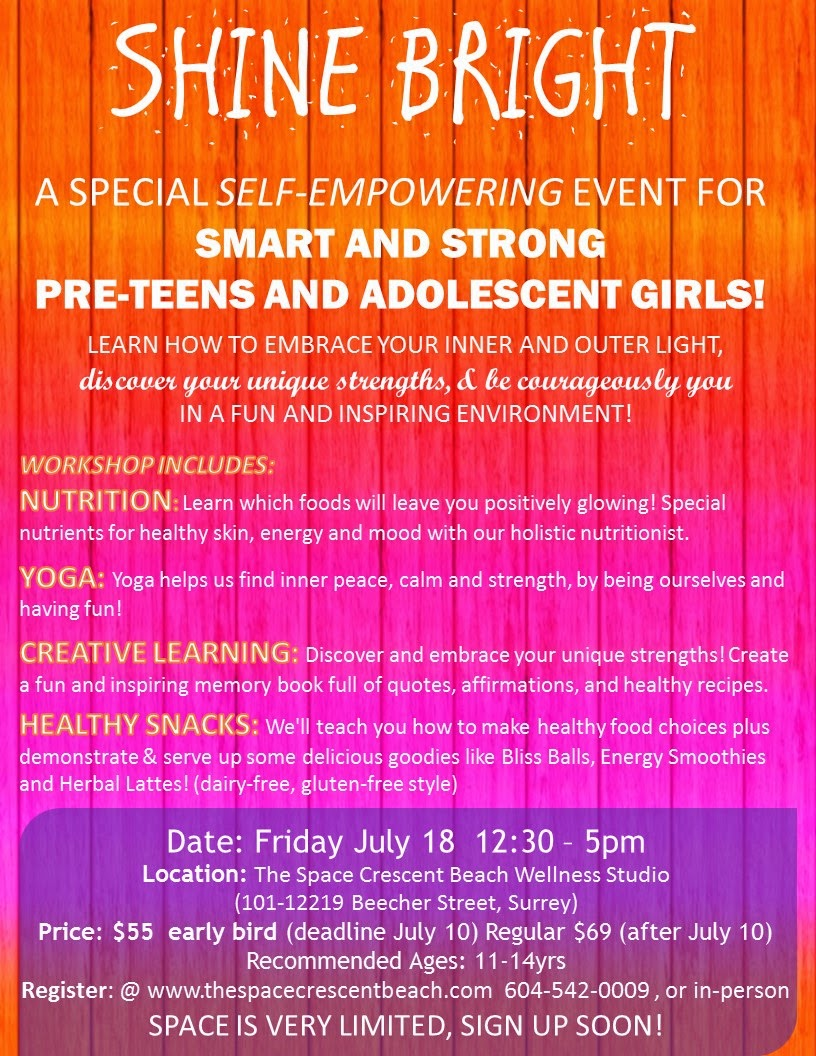 A self empowering workshop for teen and adolescent girls with yoga, nutrition and creative learning.