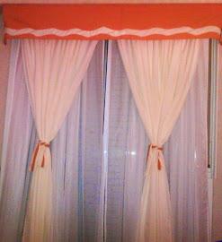 Cortina a medida colores a elección tela tropical combinada con VOILE .