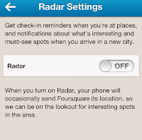 Foursquare Radar Settings