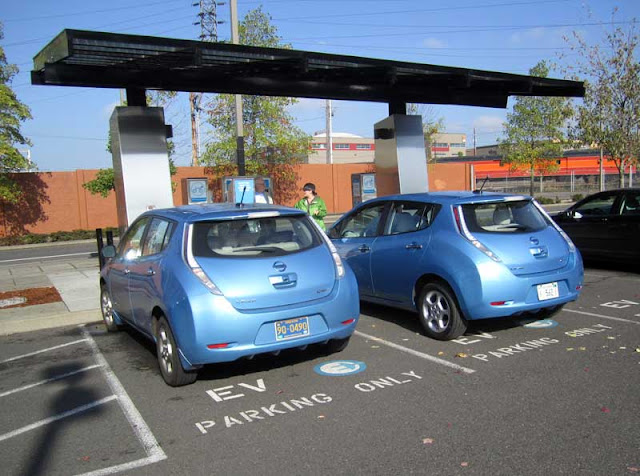 Nissan Leaf at charging station