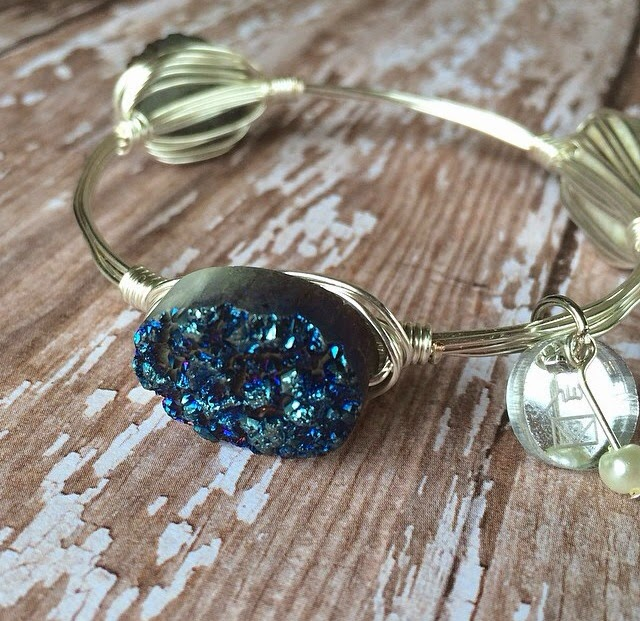 clutch your pearls jewelry blue druzy bracelet