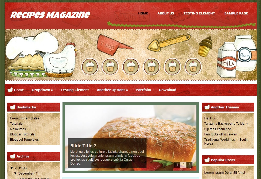 Recipes Magazine Blogger Template