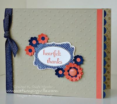 Stampin' Up! Four Frames Heartfelt Thanks Handstamped Card