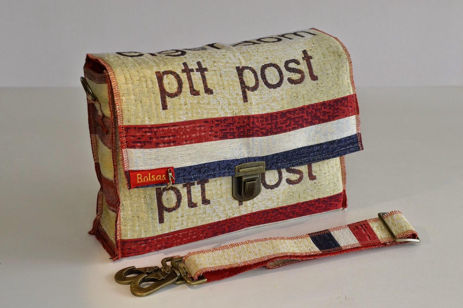Bolsas-Tassen, unieke handgemaakte tassen, postzak tas