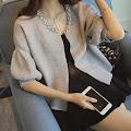 Sequin Collar Short Lantern Sleeve Flare Sweater