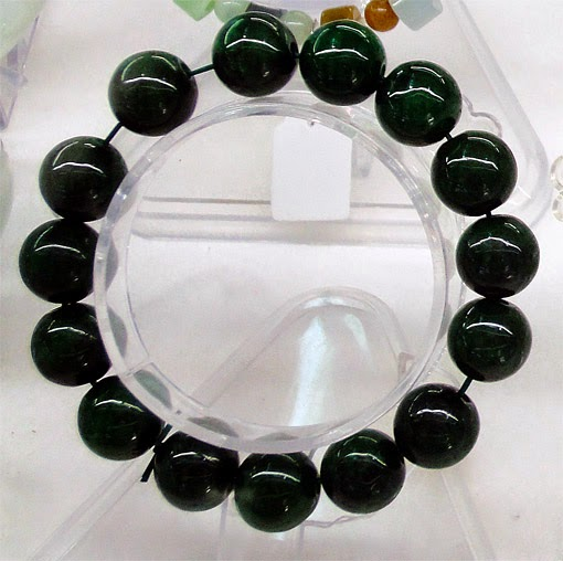 Dark green jade handmade natural bead ball stretchy bracelet
