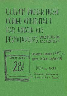 cartaz de divulgação da manifestação em defesa do Código Florestal Brasileiro, dia 20 de abril no Rio de Janeiro