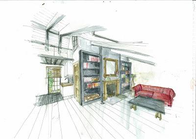 dibujo de salón con cubierta inclinada hecho con técnica mixta