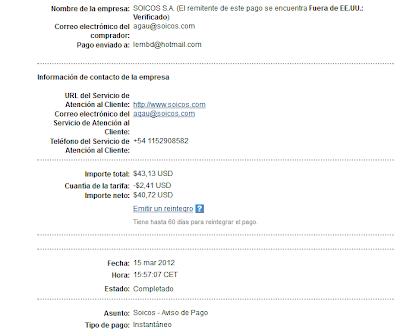 comprobante de pago de soicos empresa de afiliacion argentina