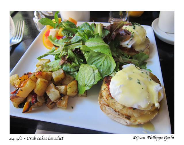 Image of Crab cakes benedict at 44 and a half in Hell's Kitchen NYC, New York