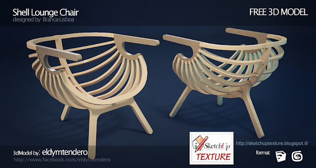 "sketchup 3d model  armchair ""Shell lounge"","
