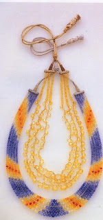 Sapphire beads in shades of blue, yellow, and pink. These contem-porary Indian beads were faceted and pierced by craftsmen on a dirt floor with a bow drill, a method practiced since Mogul days. The shapes of the pure yellow sap-phires are similar to motifs in very early Mogul jewelry The carefully matched and graded stones of the five-strand necklace weigh 530 carats.