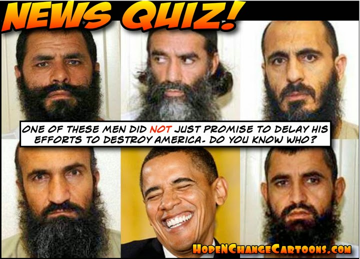 obama, obama jokes, cartoon, humor, political, taliban, bergdahl, gitmo five, terror, guantanamo, rice, taliban