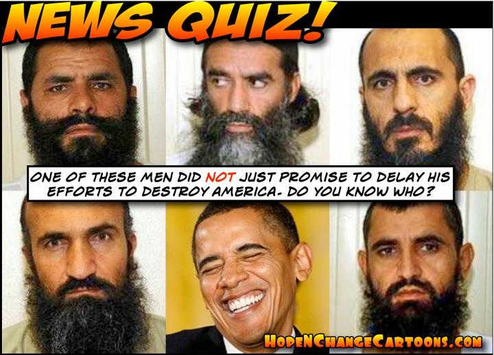 obama, obama jokes, cartoon, humor, political, taliban, bergdahl, gitmo five, terror, guantanamo, rice, taliban