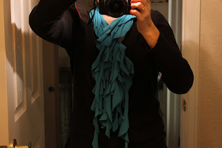 ruffled turquoise t shirt scarf