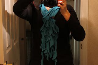 ruffled turquoise t shirt scarf
