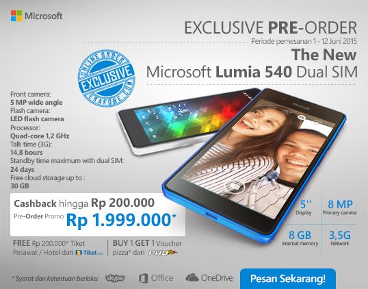Promo Launching Microsoft Lumia 540 Dual SIM Cashback Rp 200 Ribu