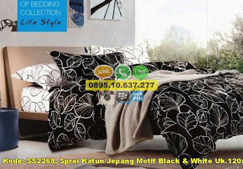 Sprei Katun Jepang Motif Black & White Uk.120x200x