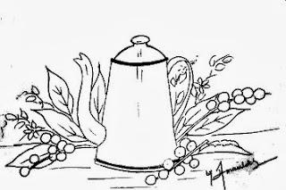 desenho bule com ramos de café