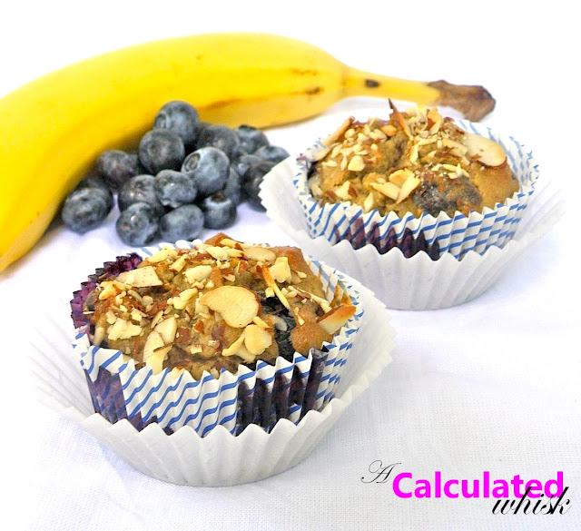 Banana Blueberry Muffins (Gluten-free, Paleo) | acalculatedwhisk.com