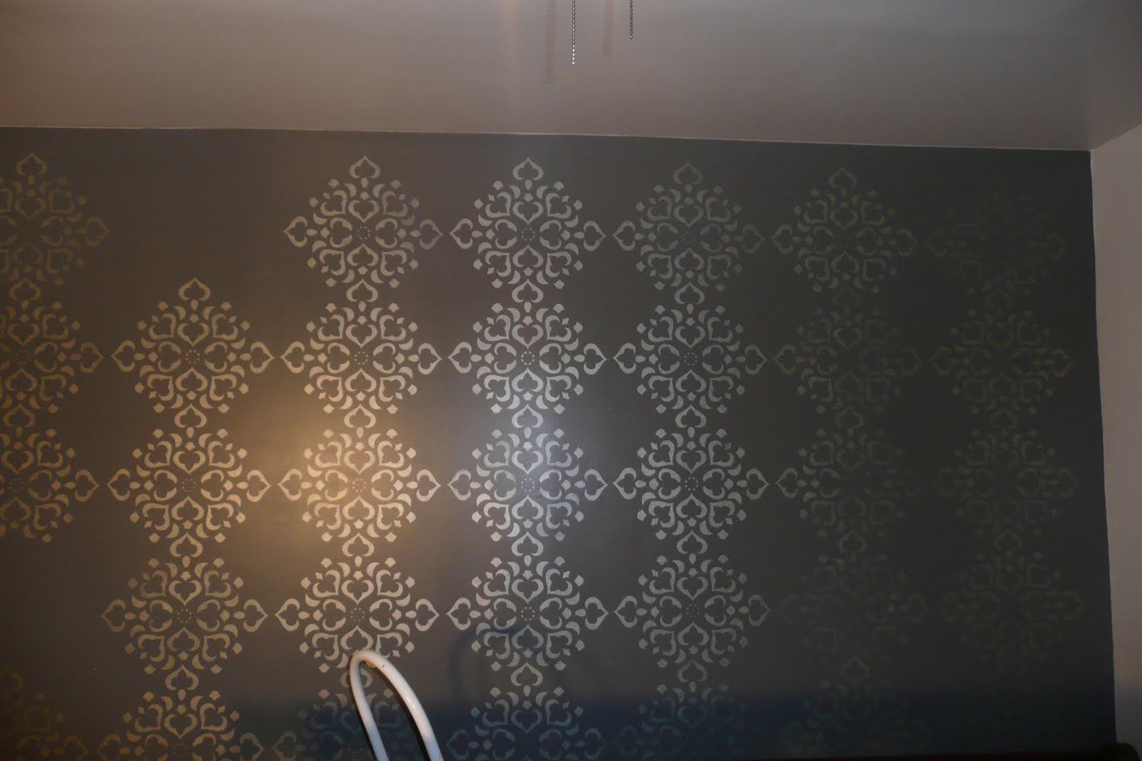 Remodelaholic Stenciled Wall Master Bedroom