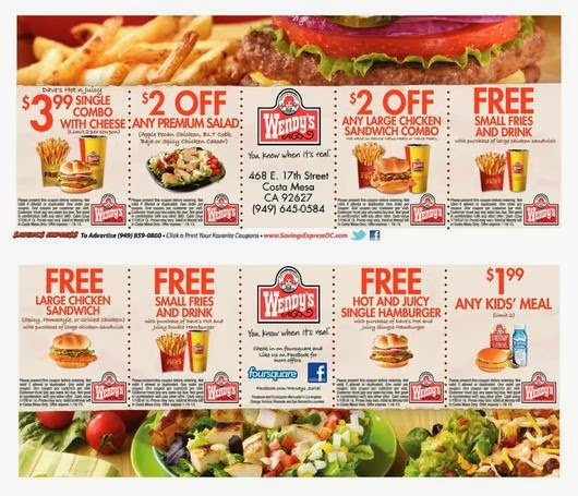 Wendy's discount coupons