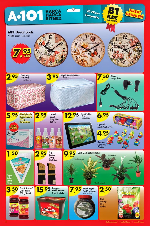 A101 24 Nisan 2014 tarihlerindeki Güncel Broşür,İndirim Katalog ,Aktüel Ürünler Aktüel Ürünler Kataloğu yayımlandı. Bu katalog ile A101 markete 24 Nisan Perşembe 2014 tarihinde gelecek ürünleri görebilir ve fiyatları hakkında bilgi sahibi olabilirsiniz,A101 24 Nisan Perşembe 2014 Broşür Ürünler Bebek Ürünleri A101 Güncel Broşür, Katalog ve İndirimler