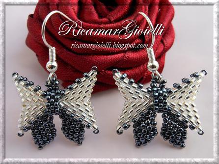 Orecchini con fiocco in peyote e brick stitch