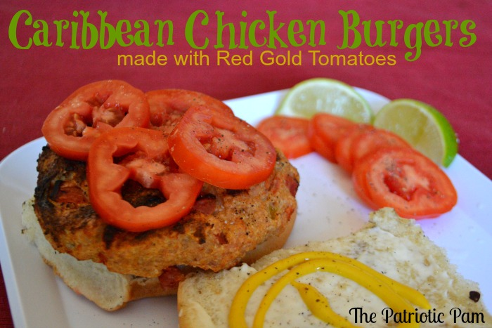 ... Pam...: Big Green Egg Caribbean Chicken Burgers with Red Gold Tomatoes