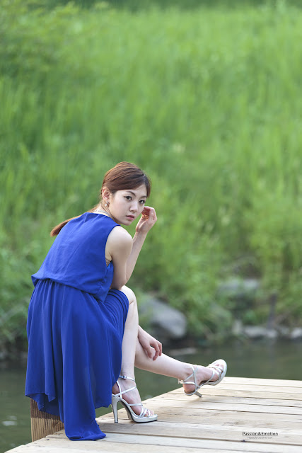 3 Chae Eun in Blue - very cute asian girl - girlcute4u.blogspot.com
