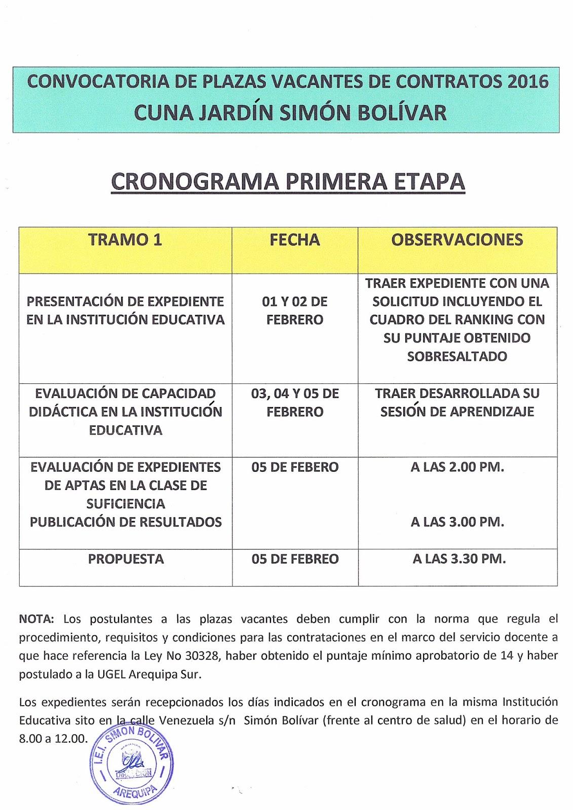 Cronograma de convocatoria para cuna jard n sim n bol var for Convocatoria docente 2016