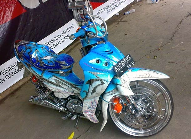 Foto Modifikasi Jupiter Z Airbrush Warna Biru