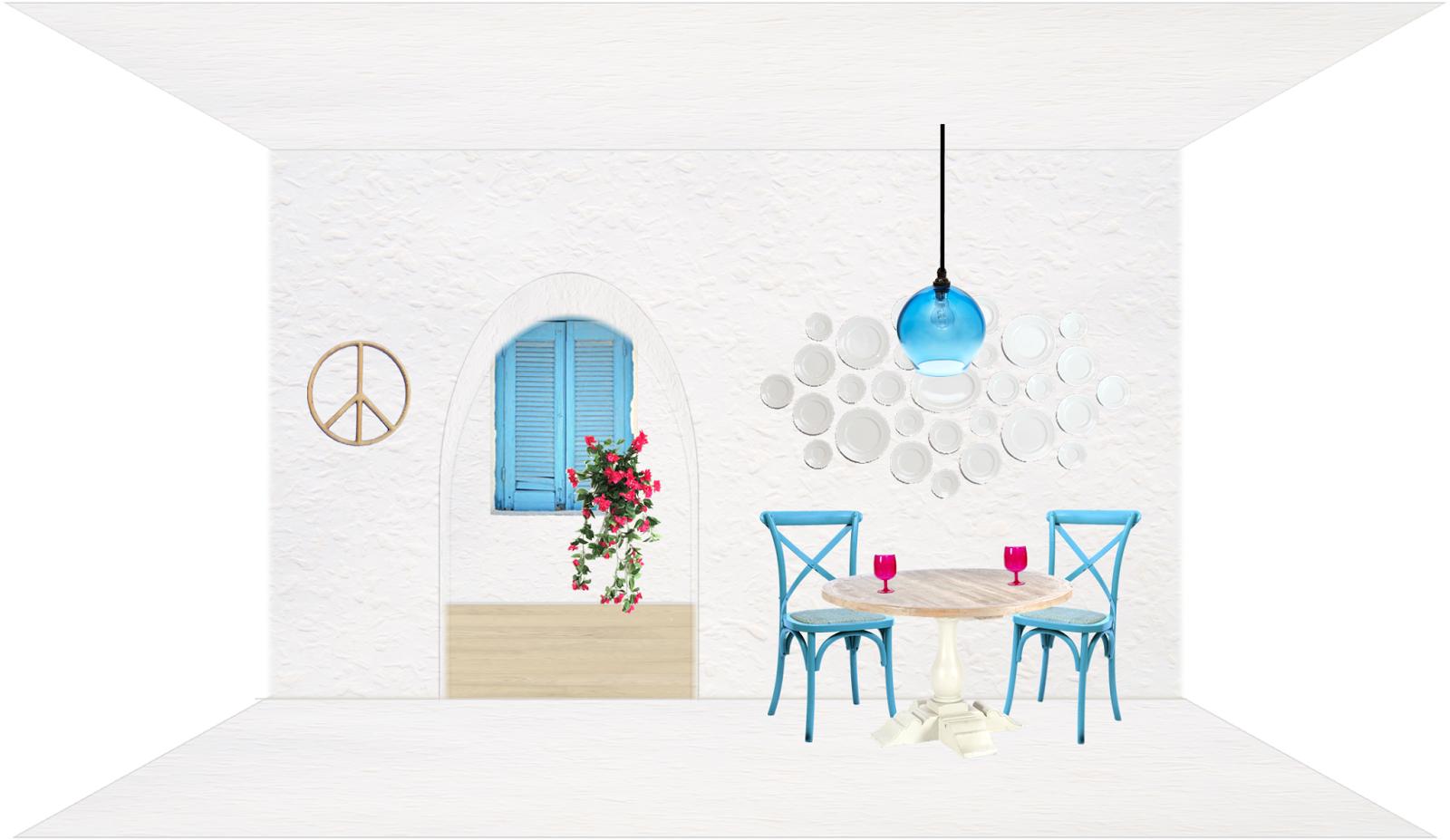 santorini inspired moodboard - greece - white - blue - decor