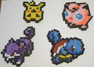 pikachu, rattata, jigglypuff, squirtle, perler