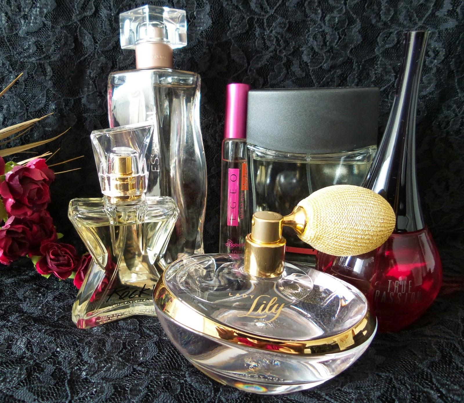 True Passion Mary Kay, Lady Lily, Egeo Dolce O Boticário,Rock  by Shakira, Essencial   Deo Parfum  Natura, Free Spirit Sport Mary Kay