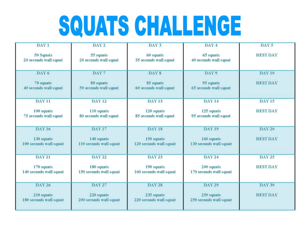 30 days squats and wall squats challenge