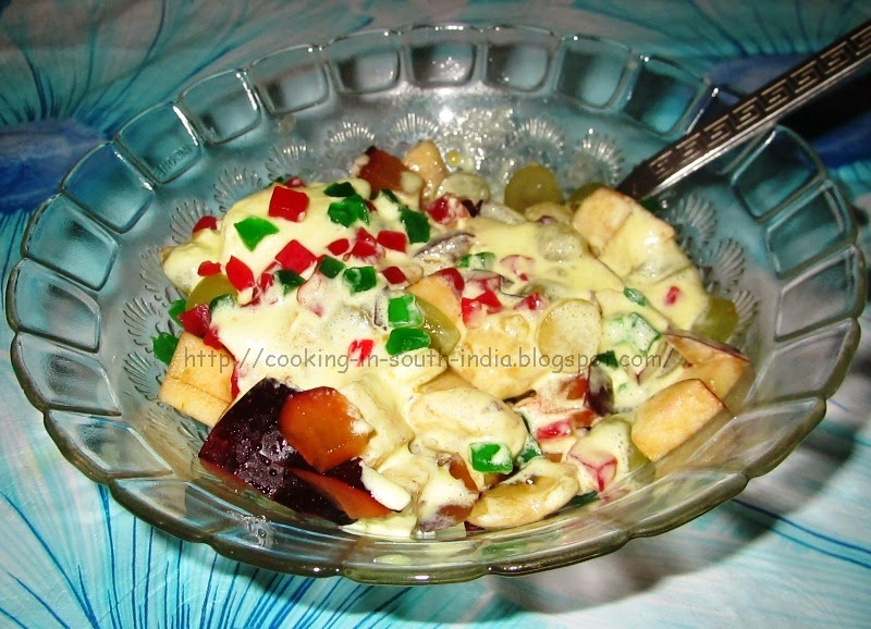Delicious Fruit Salad with Butterscotch Ice cream