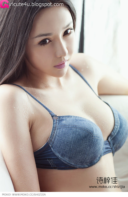Shi-Zi-Jia-Denim-Lingerie-07-very cute asian girl-girlcute4u.blogspot.com