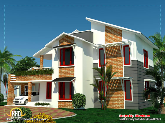 4 Bedroom Sloping roof house in Kerala - 2354 Sq. Ft. - April 2012