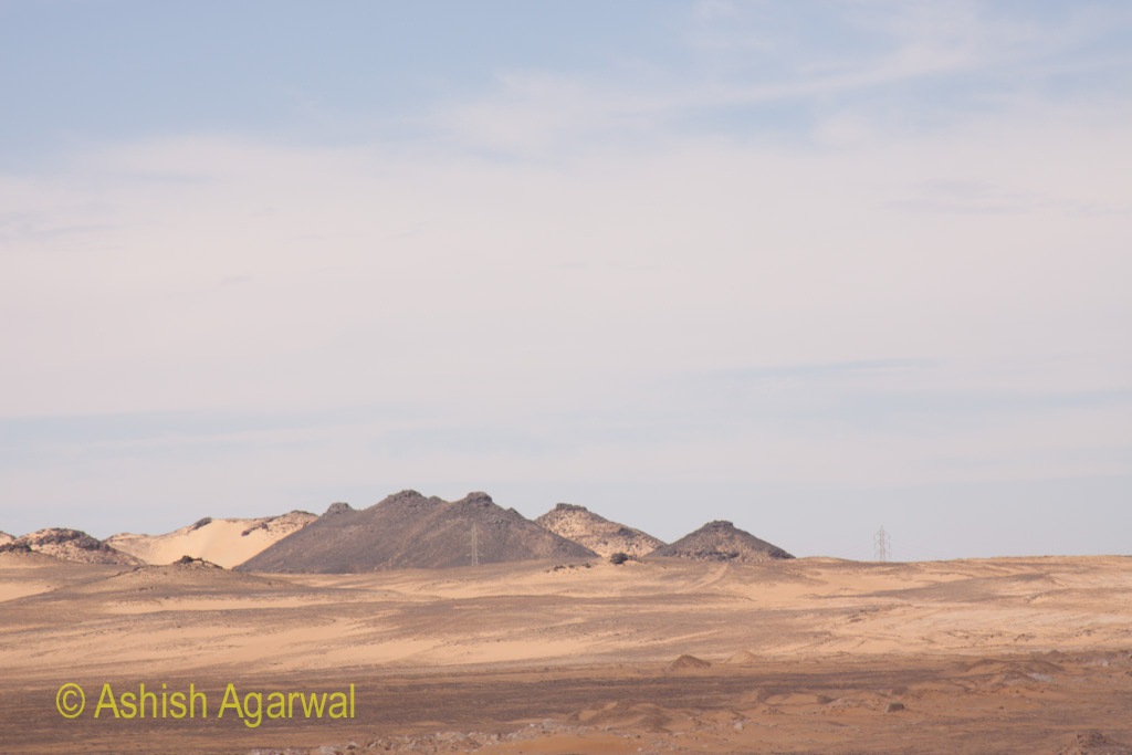 View of small hillocks while on the route to Abu Simbel in south Egypt