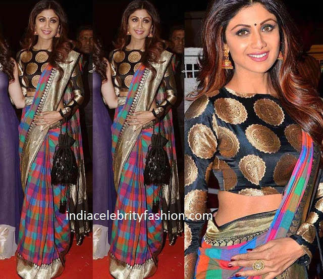 Shilpa Shetty in Multi Colored Checkered Sari