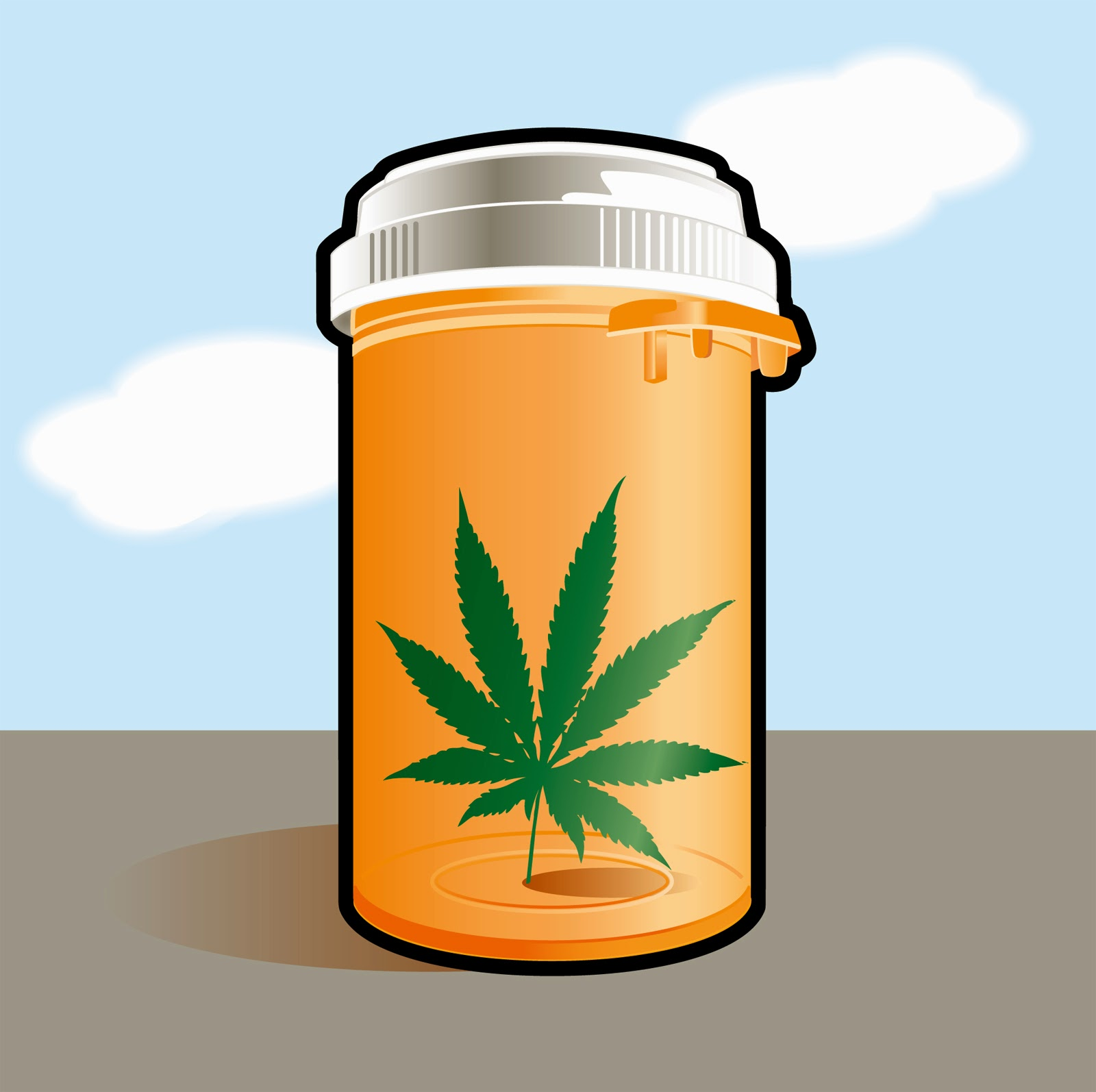 Cartoon of a medicine bottle with a marijuana leaf inside.