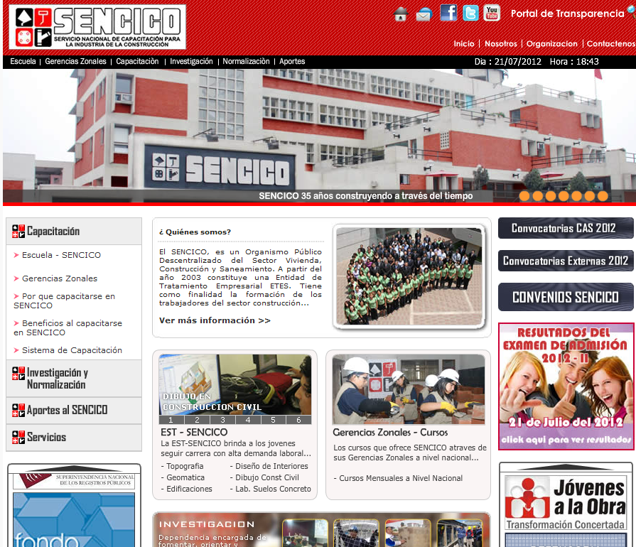 Resultados Examen SENCICO 2012-2 Perú