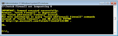Netsh firewall set icmpsetting 8 disable