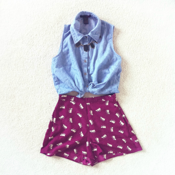 cat print shorts outfit