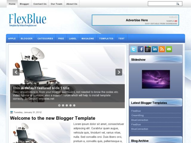 FlexBlue Blogger Template